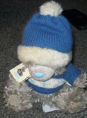 """6"""" Winter Me to you plush tatty teddy bear with Blue and White Hat and Jumper"""