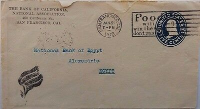 United States 1918 Postal Stationery Cover + Patriotic Slogan Censored In Egypt