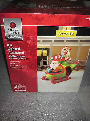 New 8 FT Animated Santa & Elf in Helicopter Airblown Inflatable Christmas Gemmy