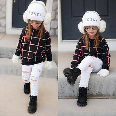 2PCS Toddler Kids Baby Girls Outfits Check Sweater Tops+ Denim Pants Clothes Set