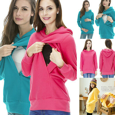 2in1 Maternity & Nursing Warm Hoodie Pregnancy Breastfeeding Top Size S-3XL