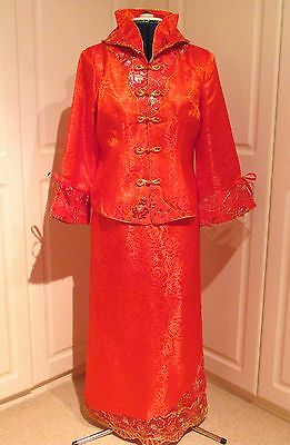 Beautiful red silk Chinois skirt/jacket suit with gold embellishment size 10/12