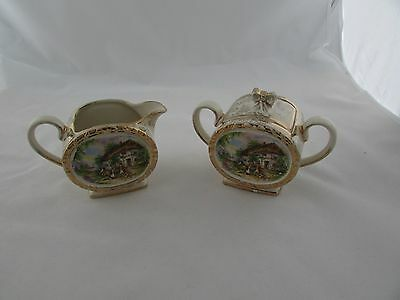 Sadler Sugar Bowl & Creamer 1877 With A Country Scene