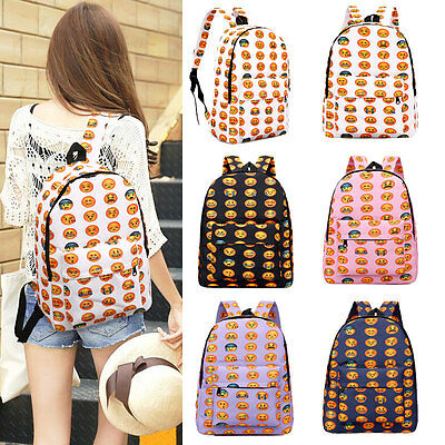 Fashion Women Girls Travel Backpack Emoji Shoulder School Book Bag Rucksack HOT