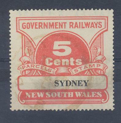 NSW 5 cents SYDNEY Railway Parcels Stamp used