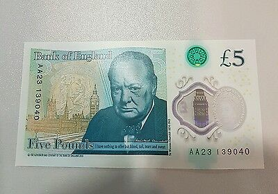 New Rare Polymer £5 Note AA Serial
