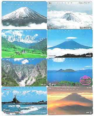 Japan 8 used phonecards mountains.