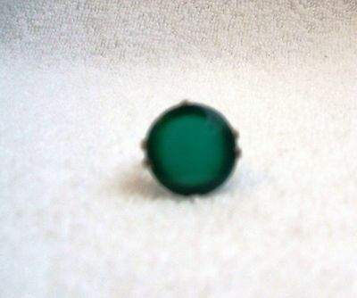 Vintage 1930s Green Celluloid Catalin Bakelite and Silver Tone Ring