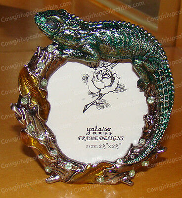 """BeJeweled LIZARD Baked Enamel Picture Frame, 4187 (2 1/2"""" x 2 1/2"""" picture)"""