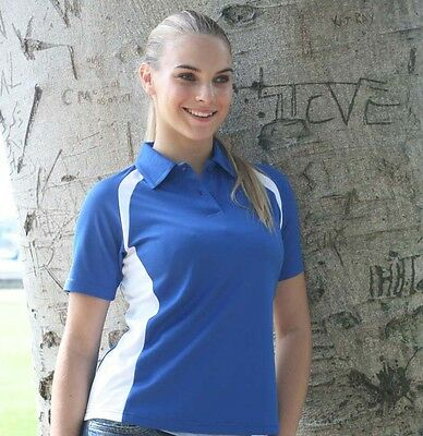 Ladies Womens Short Sleeve Contrast Panel Causal Sports Polo Top Shirt 190gsm