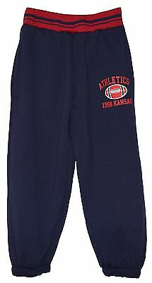 "Boy Girl Navy/red Fleece Lined ""athletics"" Joggers Joging Pants Trousers 5-6Yrs"