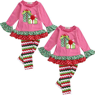 Xmas Toddlers Baby Girls Kids Romper Tops Long Pants Trousers Clothes Outfit Set