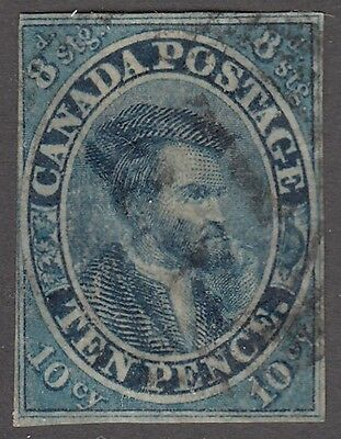 "Canada Scott #7  10d  blue Jacques Cartier Imperf ""Pence""   F *"