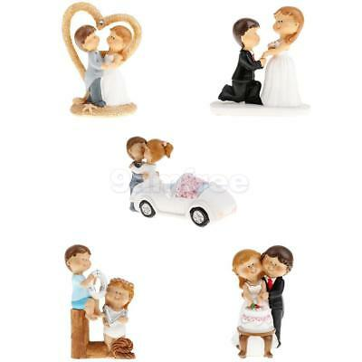Wedding Birthday Romantic Bride and Groom Cartoon Cake Toppers Figurine