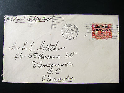 New Found land opt Airmail Halifax NS 1921 high C.Value