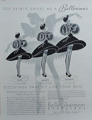 1937 ORIG. PRINT AD BELLE-SHARMEER STOCKINGS in all leg sizes art by Shriver