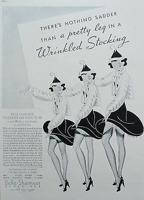 1937 ORIG. PRINT AD BELLE-SHARMEER STOCKINGS wrinkled stockings art by Shriver