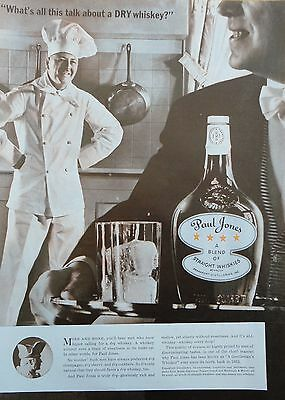 1937  PRINT AD PAUL JONES WHISKEY chef in his kitchen waiter with cocktail tray