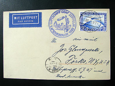 Germany Zeppelin 1929 PC real photo  to New York