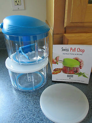 Kuhn Rikon Swiss Pull Chop Manual Food Processor With 2 Containers, Blue