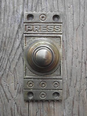 Late Victorian Style Brass Door Bell push press, old vintage edwardian style oak