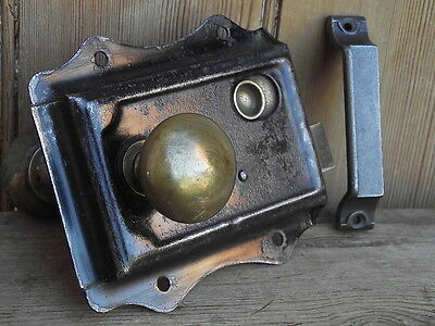 Victorian Rimlock Knobs & Keep vintage reclaimed edwardian pine doors bathroom