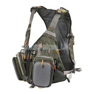 Army Green Fly Fishing Multi-Pocket Waistcoat Vest Jacket Chest Bag Backpack