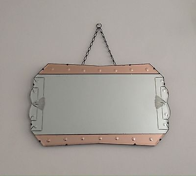 Large Art Deco 2 Colour Frameless Beveled Edge Hanging Wall Mirror With Chain