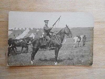 RHA Yeoman Cavalry 1908 postcard horses officer soldiers military camp Brighton?