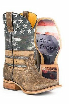 Tin Haul Men's Freedom Dog Tags Square Toe Western Cowboy Boot - American Pride!