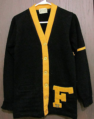 "Vintage 1960's Black Gold Letterman ""F"" Sweater Cardigan Bethlehem Sports"