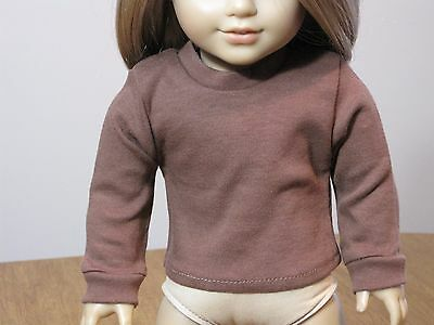 Doll Clothes for 18 inch American Girl Long Sleeved Brown Knit Top Shirt