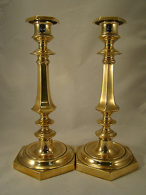 Pair Antique French Brass Bronze Directoire period Candlesticks 18th.C. (0201)