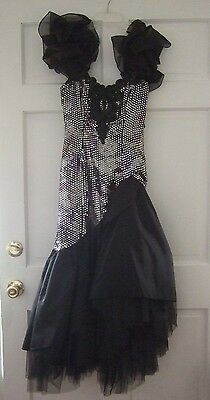 Vintage Loralie Dress Pageant Prom Costume Silver Sequin Black Lace Tulle Size 6