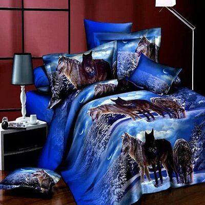 3D Wolves Oiling Printing Duvet Quilt Cover Modern Bedding Set Queen Pillowcase