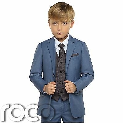Boys Chambray Suit, Boys Blue Check Waistcoat, Page Boy Suit, Boys Wedding Suits