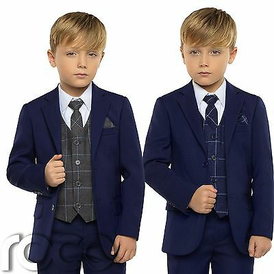 Boys Blue Suit,  Boys Check Waistcoat, Page Boy Suits, Boys Wedding Suits