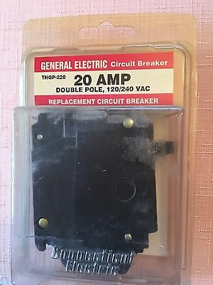 One 20 amp Double Pole Circuit Breaker General Electric  THQP-220