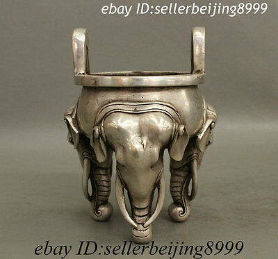 Marked Chinese Silver Buddhism Elephant Head Statue Bronze Incense Burner Censer