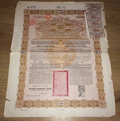 China Chinese 1898 Imperial Government £ 100 Gold Pounds UNC NO HOLES Bond Loan