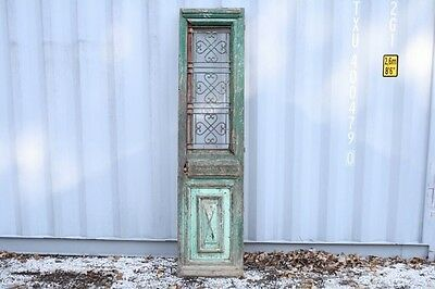 """Antique Wood Door Chippy Green Paint Solid Wood Iron Insert Single 20.5""""W x 80""""T"""
