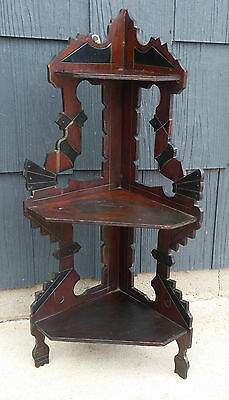 Antique Victorian Eastlake 3 Tier Corner Wall Whatnot Knick Knack Shelf