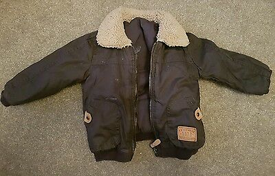 Baby boys Navy padded coat with fur collar 12-18 months