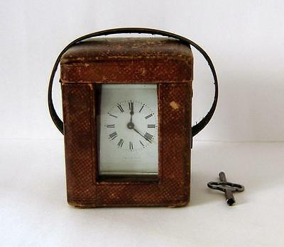 A Sly & Son Salisbury Leather Cased Brass Carriage Clock Good Working Order