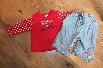 Baby Girls outfit. Long Sleeved Top & Jeans. Age 0-3 Months. Vgc