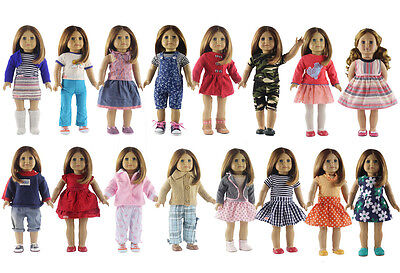"Hot 5 Set Doll Clothes Casual Wear Dress Outfit For 18"" inch American Girl Doll"