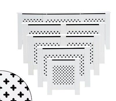 White Radiator Cover Cabinet Wood MDF Traditional Cross Design Modern Adjustable