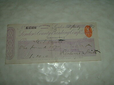 British Bank Cheque London County Banking Shrubsole & Co Kingston On Thames 1893