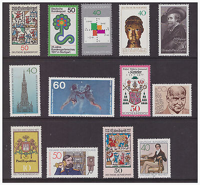 Germany West 1977 mint  MNH stamps selection of 13 difference issues
