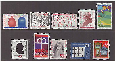 Germany West 1974 mint  MNH stamps selection of 10 difference issues